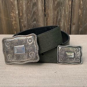 Belt/Vintage/Deep Green w/Large Silver Buckles